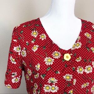 Vintage Red Daisy Dress S